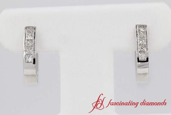 Princess Cut Diamond Hoop Earrings In Platinum