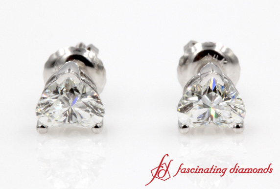 One Carat Heart Cut Diamond Stud Earring