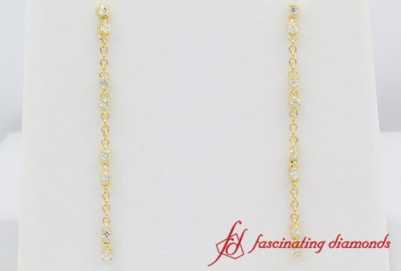Hanging Long Drop Diamond Earring In Yellow Gold