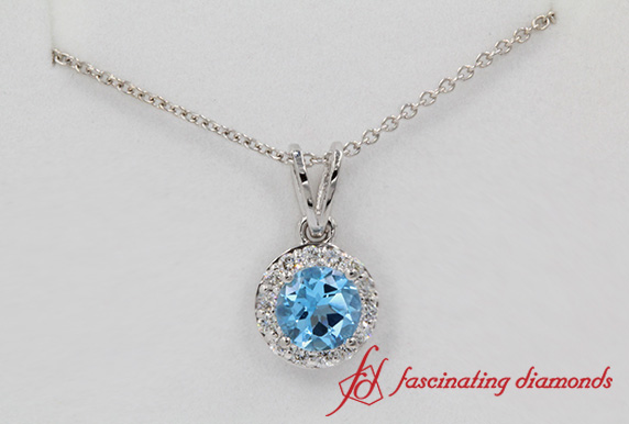 Blue Topaz Halo Diamond Pendant