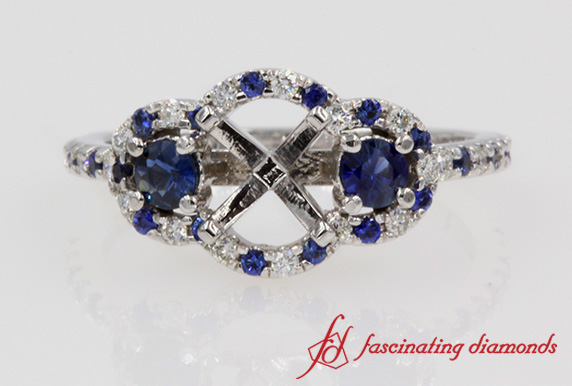 Halo Sapphire 3 Stone Diamond Ring Setting In White Gold