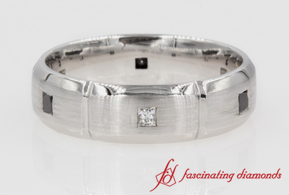 Princess Cut Black & White Diamond Mens Band
