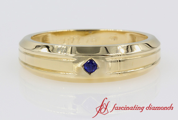 Single Sapphire Mens Wedding Band In Yellow Gold