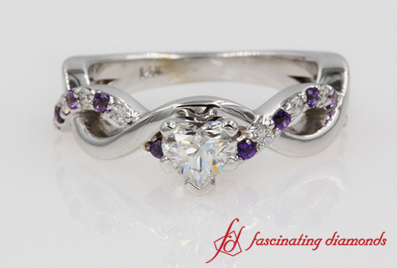 Diamond With Purple Topaz Ring