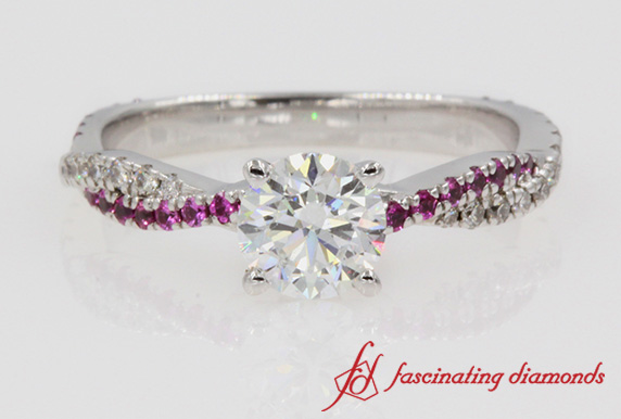 Twisted Pink Sapphire Round Diamond Ring