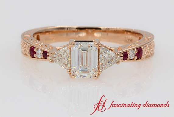 Engraved Diamond Ruby Ring