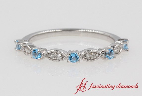 Art Deco Diamond & Blue Topaz Wedding Band In White Gold