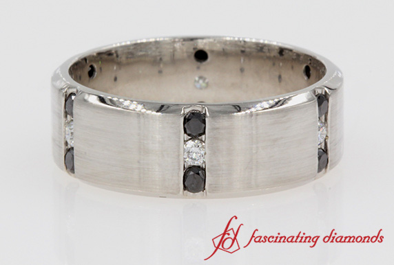 Black & White Diamond Mens Wedding Band In White Gold