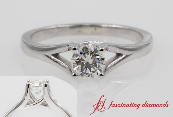 Cathedral Round Diamond Solitaire Ring
