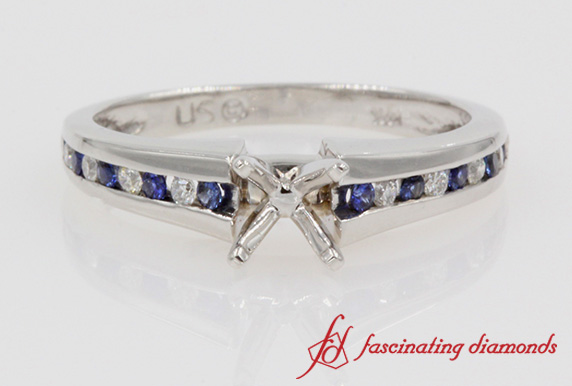 Channel Diamond Ring Setting In White Gold