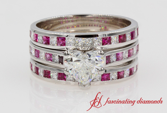 Customized Heart Diamond Trio Wedding Ring Set In White Gold