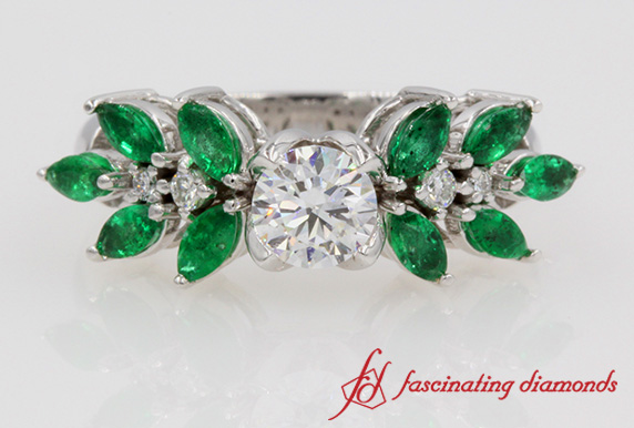 Diamond With Marquise Emerald Engagement Ring