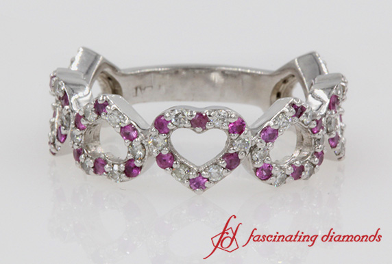Heart Design Diamond Anniversary Band