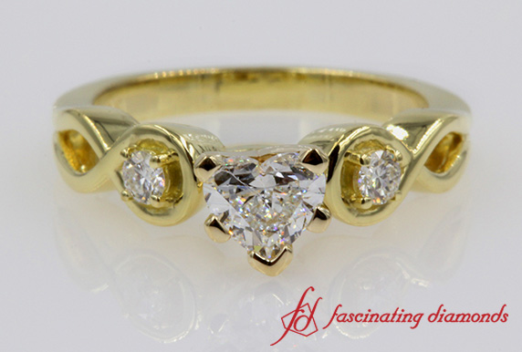 Heart Diamond 3 Stone Engagement Ring