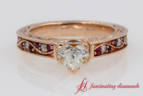 Heart Diamond Vintage Engagement Ring With Ruby In Rose Gold