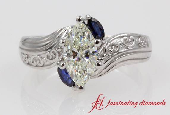 Marquise 3 Stone Diamond & Sapphire Ring In White Gold