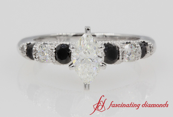 Marquise & Black Diamond Wedding Ring