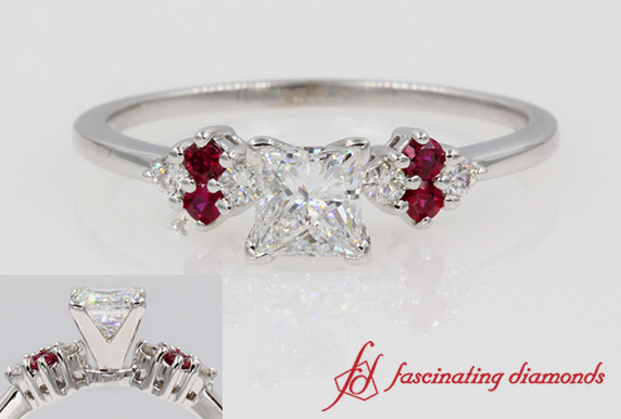 Princess Cut Cluster Diamond Ring With Ruby In White Gold