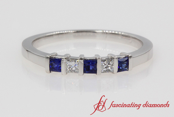 Princess Cut Diamond & Sapphire Band In White Gold