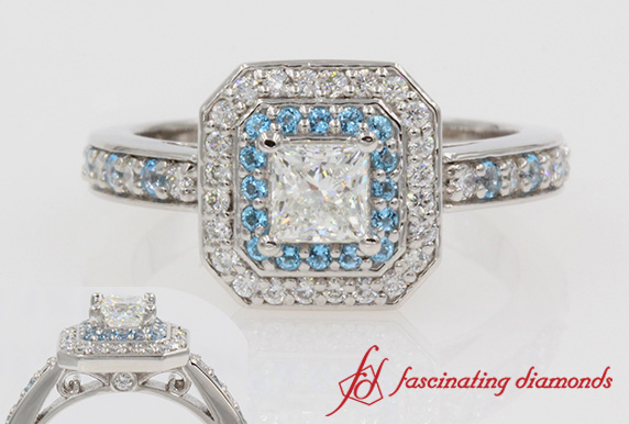 Platinum Princess Cut Double Halo Ring