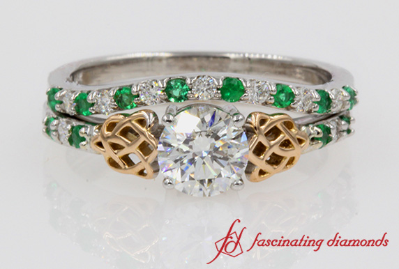 Round Diamond Celtic Wedding Ring Set
