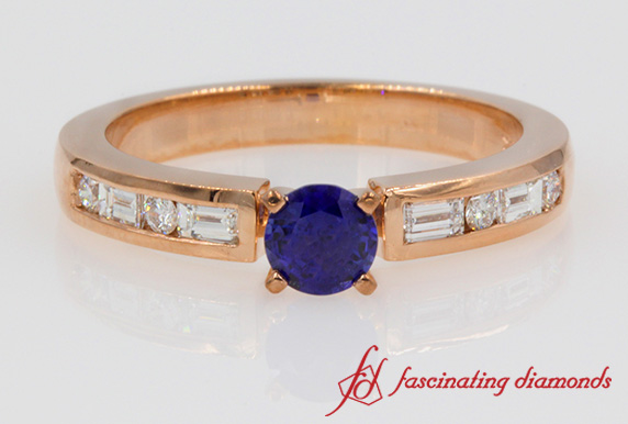 Round Sapphire & Baguette Wedding Ring
