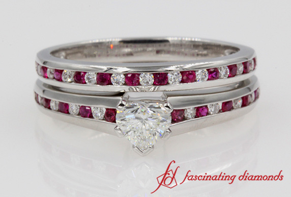 Ruby Heart Diamond Wedding Set