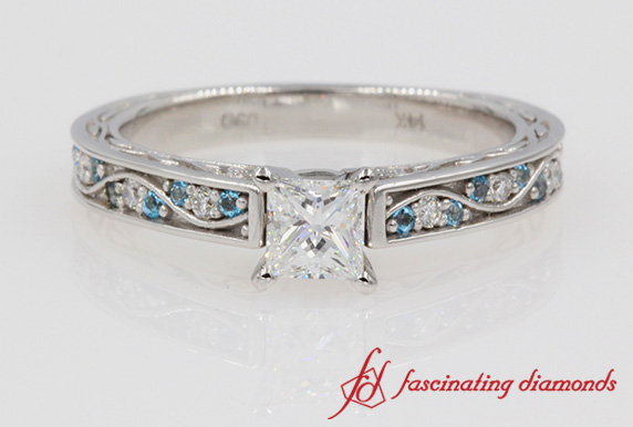 Vintage Princess Cut Diamond Ring In White Gold