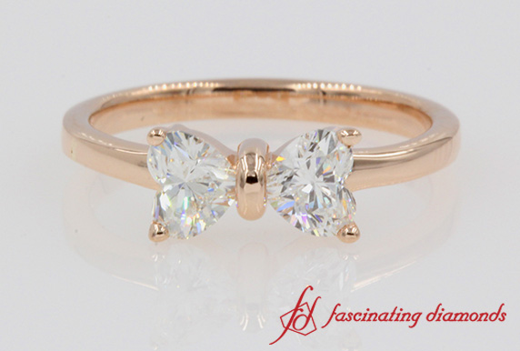 2 Heart Cut Bow Diamond Ring