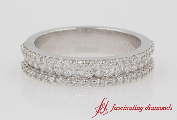 3 Row Round Diamond Wedding Band In White Gold-FD8491B