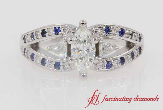 Butterfly Marquise Diamond Sapphire Engagement Ring In White Gold