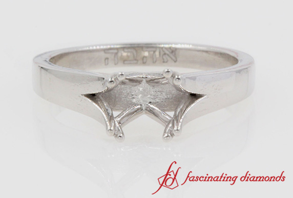 Cathedral Engagement Ring Without Diamond In Platinum-FDENR433R