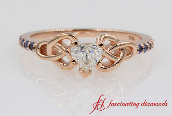 Celtic Sapphire Heart Diamond Ring