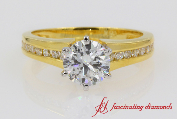 Channel Set Diamond Engagement Ring In 18K Yellow Gold-FDENS3018ROR