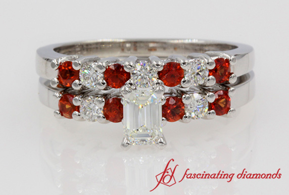 Classic Emerald Cut Wedding Set With Orange Sapphire In White Gold