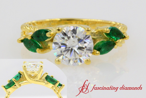 Contemporary Engagement Ring In 18K Yellow Gold-FD1099ROR