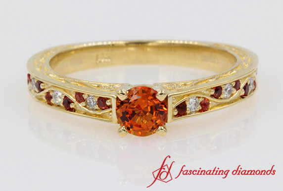 Customized Orange Sapphire Vintage Engagement Ring In Gold-FDENS3543R