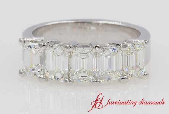 Emerald Cut 5 Stone Anniversary Band In White Gold-FD8008EM