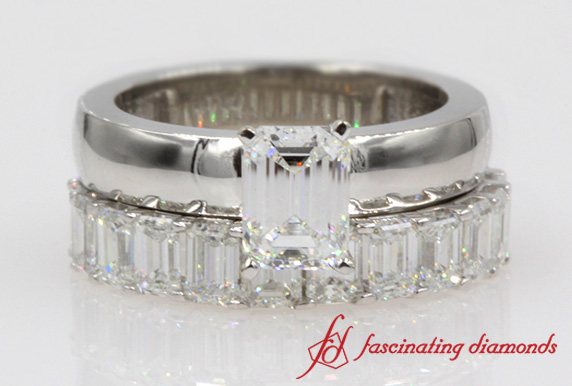 Emerald Cut Diamond Wedding Ring Set In Platinum-FDENR1843EM
