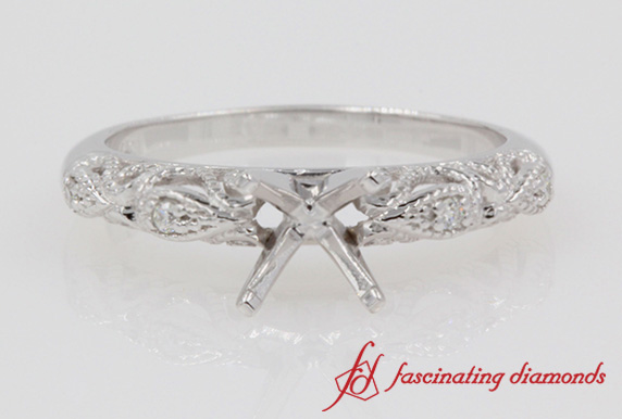 Filigree Engagement Ring Setting In White Gold-FD69805R