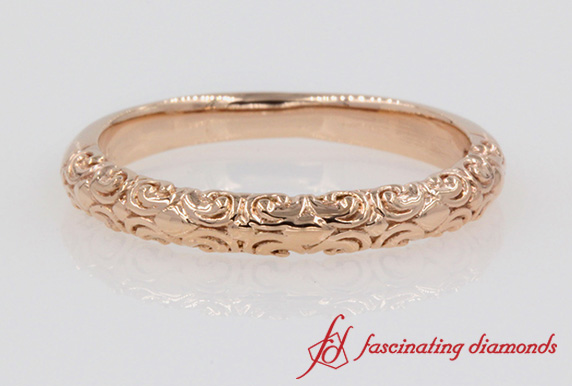 Filigree Intricate Wedding Band In Rose Gold-FD121974VB