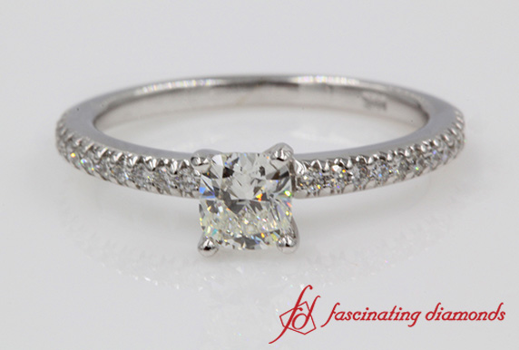 Floating Delicate Cushion Diamond Engagement Ring