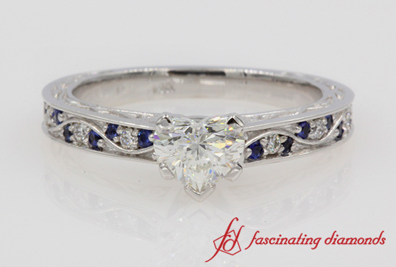Heart Cut Antique Filigree Diamond Ring In White Gold