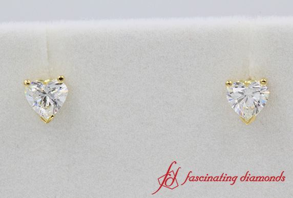 Heart Cut Diamond One Carat Stud Earring