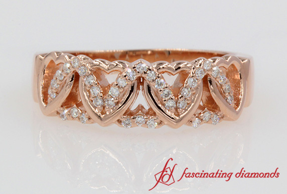 Heart Design Promise Ring In Rose Gold