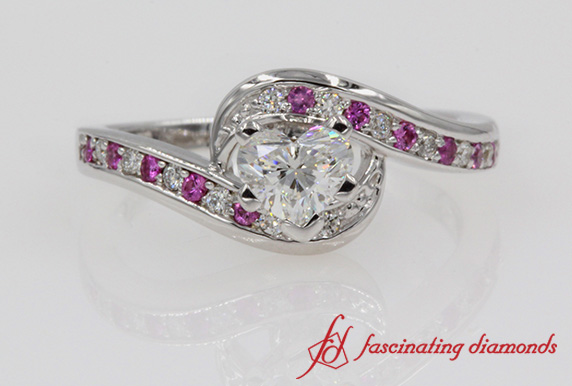Heart Shaped Swirl Pave Diamond Engagement Ring In White Gold