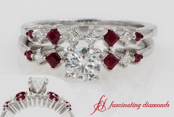 Kite Diamond & Ruby Bridal Ring Set In White Gold