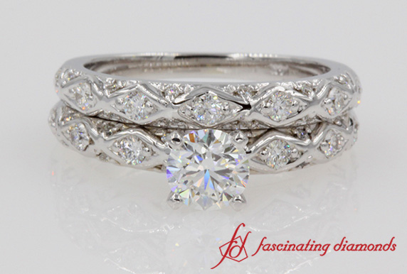 Pave Criss Cross Diamond Wedding Set