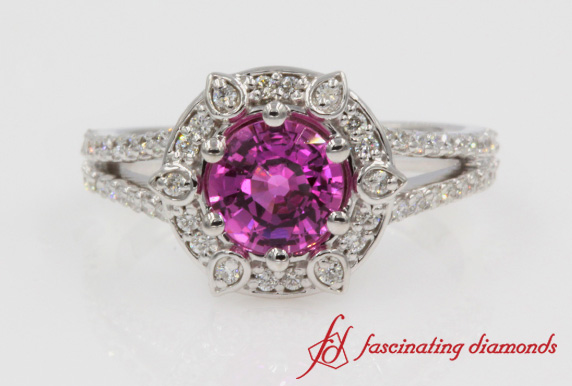 Pink Sapphire Halo Engagement Ring In White Gold