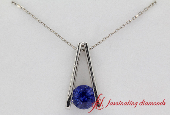 Custom Platinum Tension Set Sapphire Pendant 1 Carat